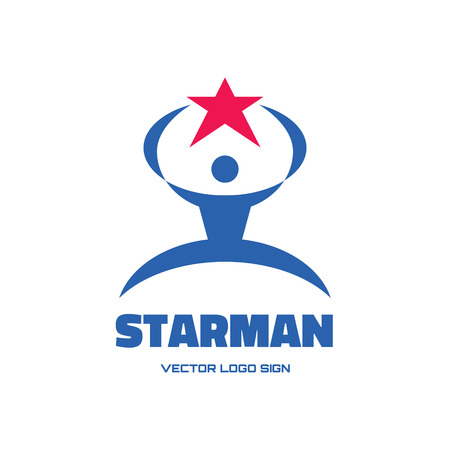 Starman - vector logo concept illustration for business company, media portal, sport club, creative agency etc. Human character. Human & star logo sign. Vector logo template. Design element.