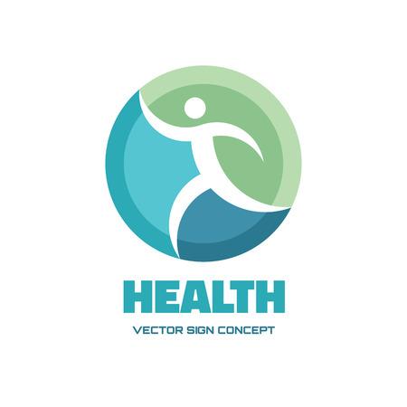музыка: Здоровье - векторный логотип иллюстрации концепции. Человек векторный логотип. Бегущий человек вектор знак. Вектор логотип шаблон. Элемент дизайна.
