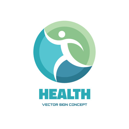 sign: Health - vector logo concept illustration. Human vector logo. Running man vector sign. Vector logo template. Design element.