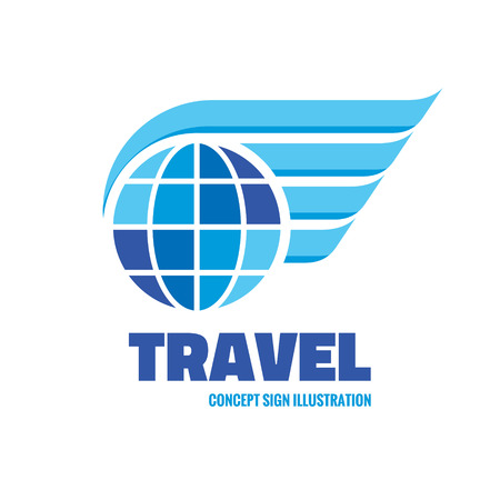 symbol tourism: Travel - vector icon concept illustration. Globe with wings icon. Vector icon template. Design element.