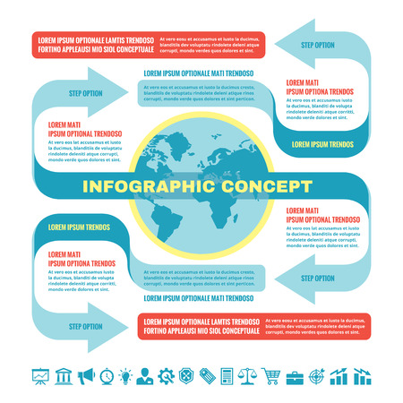 Business infographic concept - vector template illustration. Original creative scheme with globe, arrows, blocks and icons set. Geopolitical concept scheme in blue and red colors. Design elements. Vector