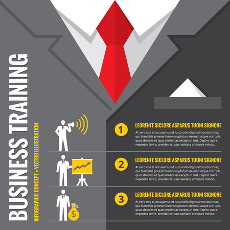 management training: Business training - infographic vector illustration. Business man - infographic vector concept. Office suits infographic concept. Recruitment infographic concept. Design elements.