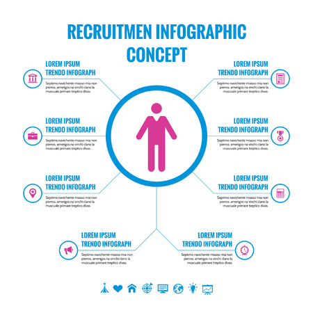 recruitment icon: Recruitment Infographic Concept - Vector Illustration with Icons.