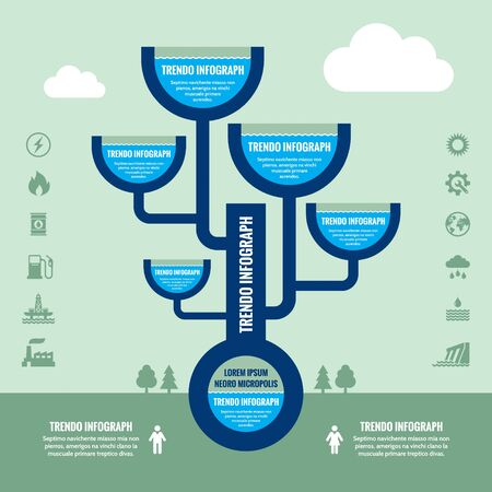 capacity: Infographic Business Concept with Icons - Capacity and pipes system vector illustration.