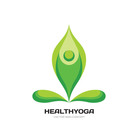 Health yoga - vector logo concept illustration. Abstract human character sign. Beauty, spa, relax, massage, meditation, nirvana, nature, leafs concept icon. Vector logo template.
