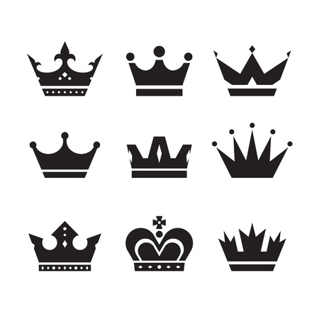with sets of elements: Crown vector icons set. Crowns signs collection. Crowns black silhouettes. Design elements.