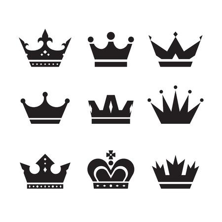 couronne royale: Icônes vectorielles couronne sertie. Couronnes collecte des signes. Couronnes silhouettes noires. Les éléments de conception.