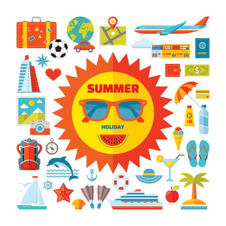 Summer holiday - vector icons set in flat style design. Summer signs collection. Summer and travel icons collection. Design elements. Иллюстрация