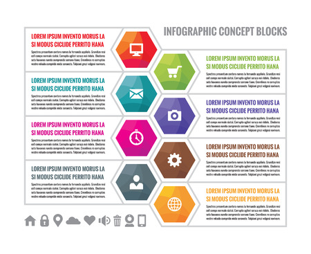 pictogramm: Business infographic concept colored hexagon blocks in flat style design. Steps or numbered infographic vector blocks. Infographic vector template. Design elements. Illustration