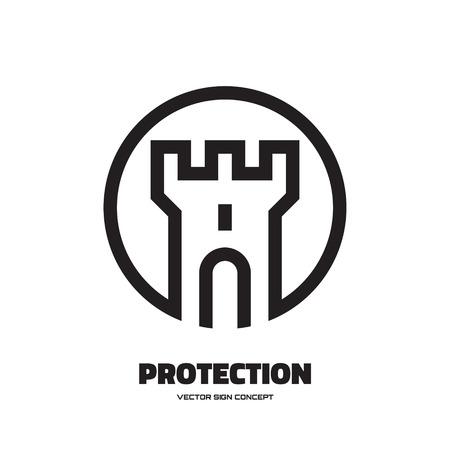 castillo medieval: Protecci�n - vector logo concepto de ilustraci�n. Torre abstracta del castillo de ilustraci�n. Vector insignia de la plantilla. Elemento de dise�o. Vectores
