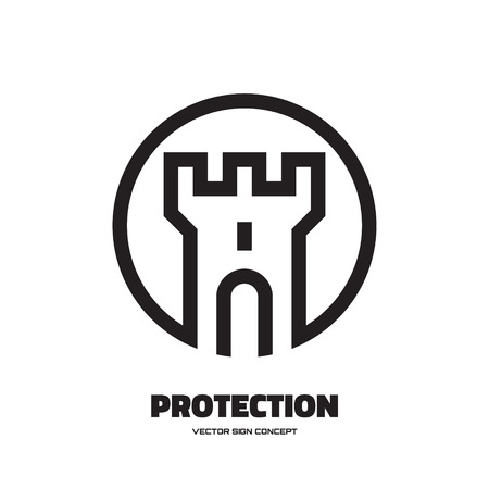 castle tower: Protection - vector logo concept illustration. Abstract tower of castle illustration. Vector logo template. Design element. Illustration