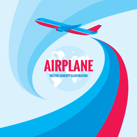 Airplane vector concept illustration with abstract background. Airplane silhouette illustration for transportation or travel company. Design elements.