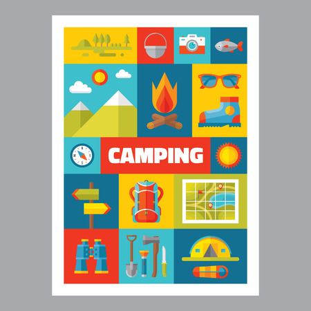 hiking boot: Camping mosaic poster with icons in flat design style. Vector icons set. Set of summer travel signs. Summer adventure illustrations. Design elements. Illustration