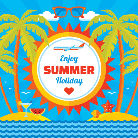 Enjoy summer holiday vector concept banner in flat style. Summer holiday vector background. Design elements. Illustration