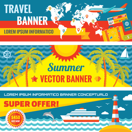Summer travel decorative horizontal vector banners set in flat style design trend. Summer travel vector backgrounds. Summer travel and transport flat icons. Design elements