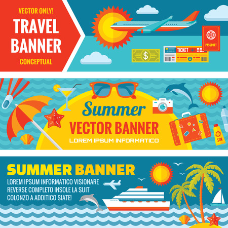 tourism: Summer travel decorative horizontal vector banners set in flat style design trend. Summer travel vector backgrounds. Summer travel and transport flat icons. Design elements.