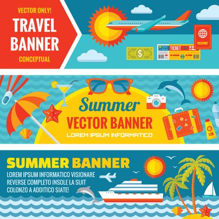 verano: Viajes de verano decorativos vector banners horizontales establecidas en la tendencia de dise�o de estilo plano. Verano fondos de vector de viajes. Los viajes de verano y el transporte iconos planos. Los elementos de dise�o.
