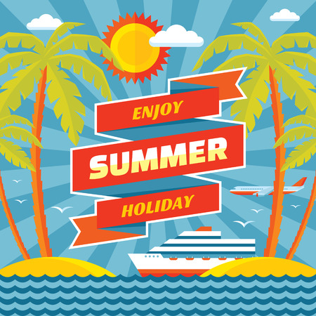 Enjoy summer holiday vector concept banner in flat style. Summer holiday vector background. Design elements. Vector