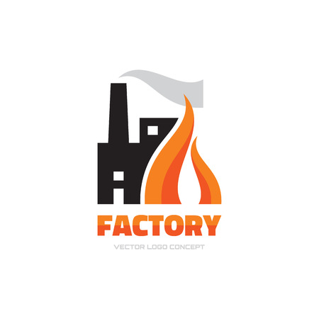 factory: Factory vector logo concept illustration for business company. Industrial factory logo sign illustration. Vector logo template. Design element.