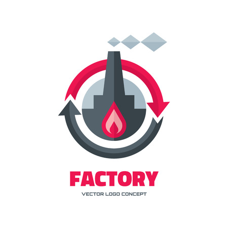 Factory vector logo concept illustration in flat style for business company. Industrial factory logo sign illustration. Vector logo template. Design element.