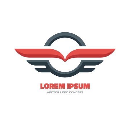 medios de transporte: Vector logo concepto de ilustraci�n. Circle y alas firman. Vector insignia de la plantilla. Elemento de dise�o.