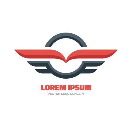 transport: Vector logo Konzept Illustration. Kreis und Flügel zu unterzeichnen. Vektor-Logo-Vorlage. Design-Element.