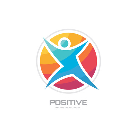 Positive human character vector logo concept illustration for sport club health center music festival etc. Vector illustration symbol. Vector logo template. Human icon. Design element. Illustration