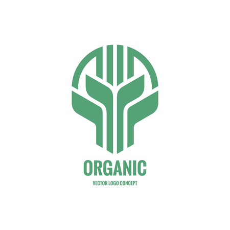 Sprouts and leaves vector logo concept illustration. Organic logo. Ecology logo. Leafs logo. Bio logo. Nature logo. Agriculture logo. Vector logo template. Design element.  イラスト・ベクター素材