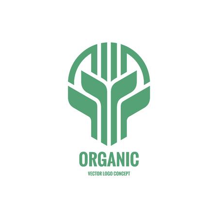 Sprouts and leaves vector logo concept illustration. Organic logo. Ecology logo. Leafs logo. Bio logo. Nature logo. Agriculture logo. Vector logo template. Design element. Illustration