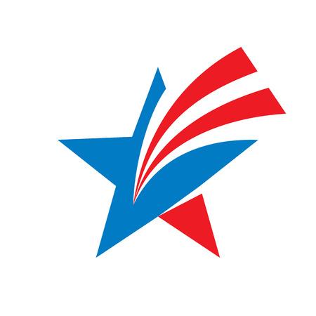 estrella: Estrella del vector logo concepto de ilustración. Signo. Símbolo de la estrella. Muestra de la estrella EE.UU.. Vector insignia de la plantilla. Elemento de diseño.