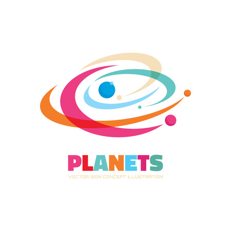 Planets vector  concept. Abstract planets illustration. Solar system concept illustration. Galaxy sign.  Çizim