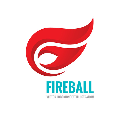 Fireball vector logo concept illustration. Fire logo sign. Flame logo sign. Vector logo template. Design element.