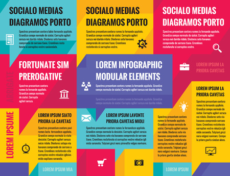 Business infographic concept vector layout for presentation, booklet, website and other design project. Social media speech bubbles infographic template. Vector icons set. Infographic color poster.