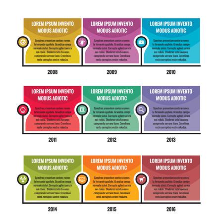 cronologia: Concepto de negocio infografía - línea de tiempo del vector para su presentación, folleto, página web y otros proyectos creativos. Vector plantilla Infografía. Elementos de diseño.