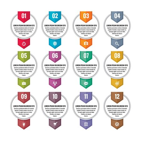 timeline: Infographic business concept - numbered vector banners. Option steps banners. Location banners. Vertical banners for timeline or map. Design elements.