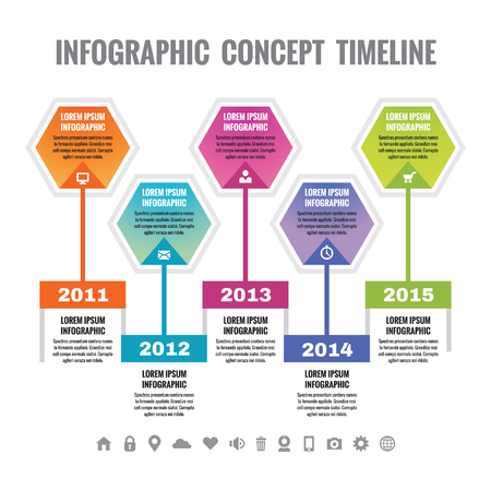 chronology: Infographic business concept in flat design style - timeline vector template for presentation, booklet, web and other creative design projects. Design elements.