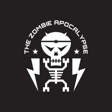 apocalypse: The zombie apocalypse - vector badge concept illustration for t-shirt, poster etc. Skeleton, skull minimal illustration. Design element.