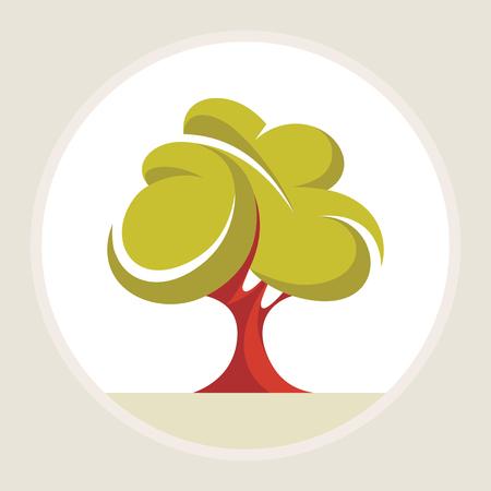 arbol alamo: Hermoso �rbol - ilustraci�n vectorial creativa. Ilustraci�n de concepto de �rbol verde abstracto. Naturaleza objeto. Elemento de dise�o.