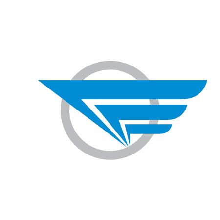 транспорт: Крыло и круг - векторный логотип иллюстрации концепции. Аннотация эмблемой. Транспорт логотип. Путешествия логотип. Вектор логотип шаблон. Элемент дизайна.