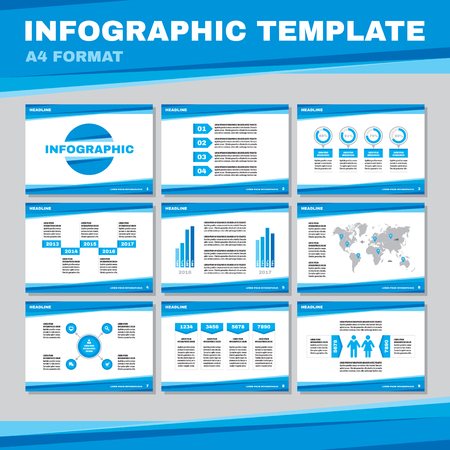 color pages: Infographic template in A4 format in blue color. Infographic vector pages in A4 format. Business presentation on A4 pages. Infographic design elements. Big set of infographics elements.