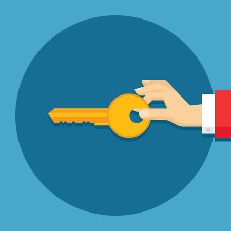 Human hand with key - creative vector illustration in flat style design for presentation, booklet, website and other creative project. Design element.