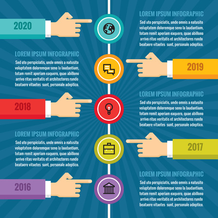 time line: Human hands with vertical timeline - infographic business concept - vector concept illustration in flat style design for creative projects. Infographic design elements.