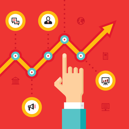 Business infographic growth - vector Illustration in flat style design for presentation, booklet, website and other creative prodject. Human hand and growth graphic illustration with icons.