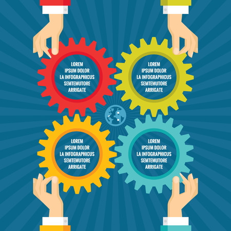 business gears: Human hands with colored gears - infographic business concept - vector concept illustration in flat style design for creative projects. Cogwheels Infographic.