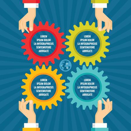 cuatro elementos: Manos humanas con engranajes de color - concepto de negocio infografía - ilustración vectorial concepto en el diseño de estilo plano para proyectos creativos. Infografía ruedas dentadas.
