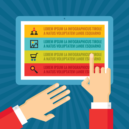 tablet: Human hands with information blocks on tablet screen - infographic business concept - vector concept illustration in flat style design for creative projects.