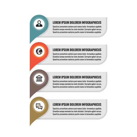 abound: Infographic business concept - colored vertical vector banners. Location information banners. Infographic template. Infographics design elements. Illustration