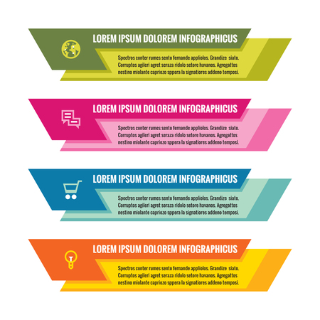 colored: Infographic business concept - colored horizontal vector banners. Infographic template. Infographics design elements.