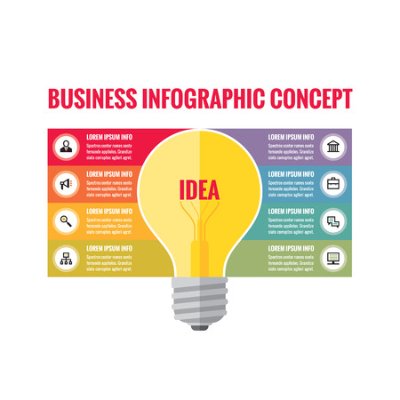 idea lamp: Infographic business concept - creative idea illustration - vector yellow lamp and colored stripes with icons for presentation, booklet, website etc.