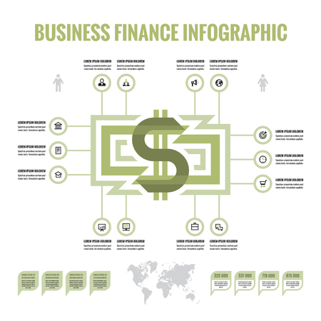 abound: Infographic money dollar - vector infographic concept. Business finance infographic. Currency dollar infographic. Vector icons set. Design elements. Illustration